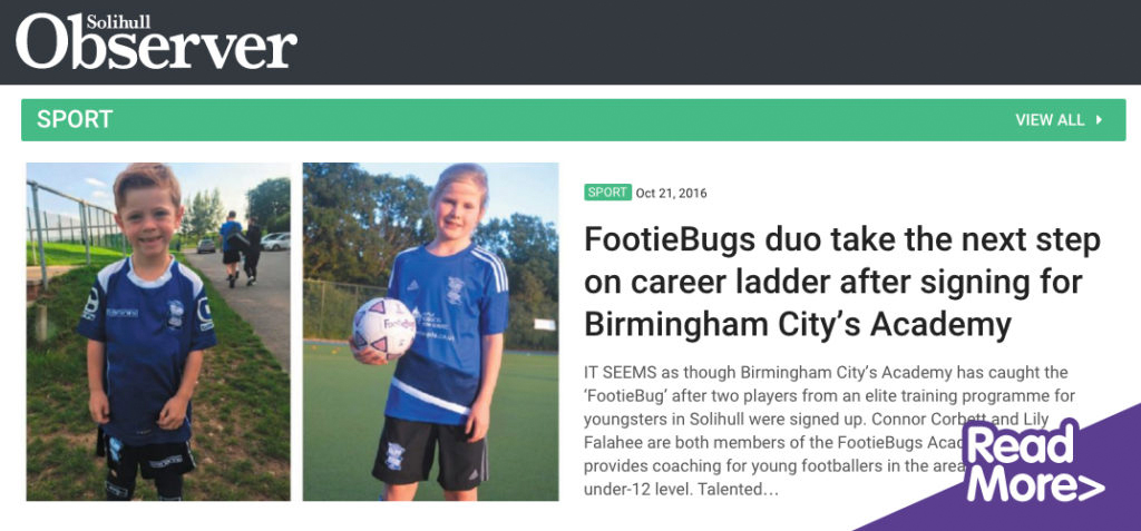 solihull observer- footiebugs feature